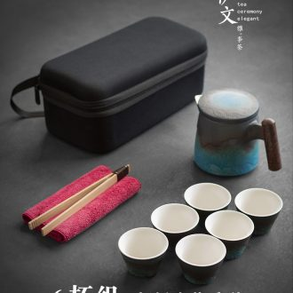 Evan ceramic travel kung fu tea sets portable teapot contracted outdoor crack cup a pot of six glasses