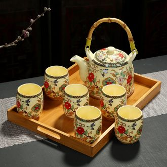 Girder of a complete set of blue and white porcelain pot of tea set high temperature resistant, high - capacity teapot teacup ceramic cup tea restaurant