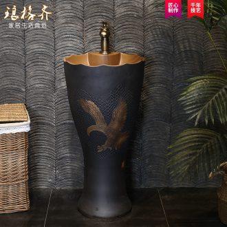 Carved small pillar basin integrated ceramic lavatory toilet pillar lavabo floor type restoring ancient ways basin