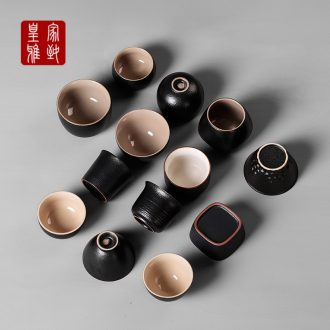 Royal black elegant zen manual stone glaze thick clay ceramic cups kung fu tea set sample tea cup Japanese masters cup