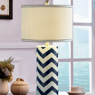 The Mediterranean blue ceramic European - style lamp lamp of bedroom The head of a bed modern Scandinavian minimalist decor of rural living room