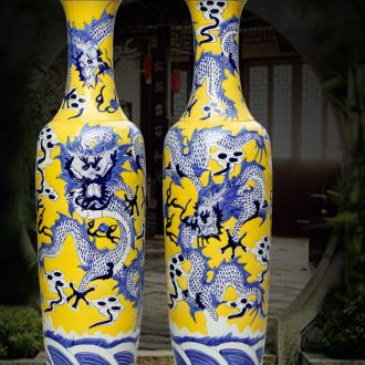 Jingdezhen ceramics hand carved huanglong sitting room be born the vase household adornment hotel lobby furnishing articles