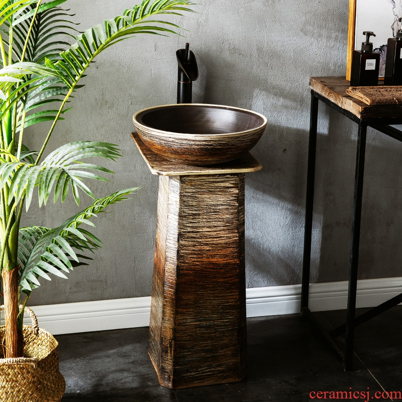 Sink ceramic floor type restoring ancient ways outdoor lavabo pillar type courtyard sink villa outside the pool that wash a face