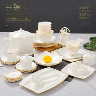 Jingdezhen dishes suit household up phnom penh ipads porcelain of Jingdezhen ceramic tableware creative contracted Europe type bowl dish