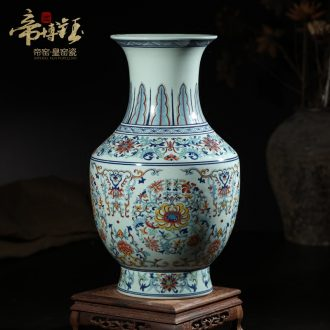 Jingdezhen ceramics high-end antique qianlong bucket colors branch lotus bottle of home sitting room adornment handicraft furnishing articles