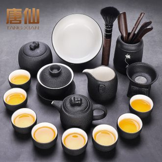 Tang Xian black pottery tea set home sitting room of kung fu tea tureen ceramic teapot tea, tea ceremony with zero