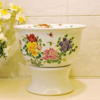 Package mail American pastoral style of jingdezhen art basin mop mop mop pool - white see colour