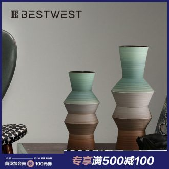 BEST WEST designer ceramic vase furnishing articles model villa living room decoration flower arranging, light decoration key-2 luxury