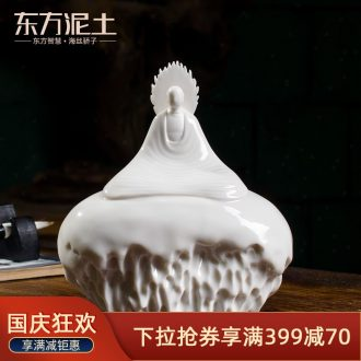 The east mud dehua white porcelain ceramic crafts home furnishing articles zen porcelain carving arts empty/D48-35