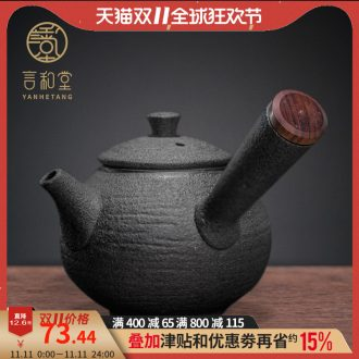 And hall wood grain lateral coarse pottery pot of ceramic filter teapot tea pot of kung fu tea set small teapot
