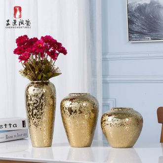 Jingdezhen ceramic European golden vase furnishing articles sitting room flower arranging creative porcelain decoration Nordic marriage office