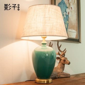 Ceramic lamp bedroom berth lamp light the key-2 luxury of modern American new Chinese style restoring ancient ways is green sweet full copper lamps and lanterns