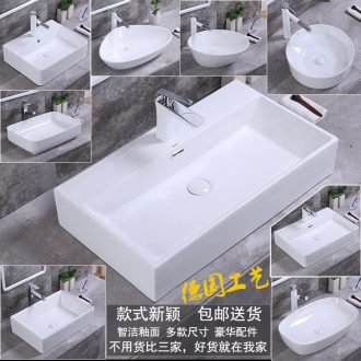 The stage basin sink household square lavatory ceramic wash gargle size European art basin bathroom basin that wash a face