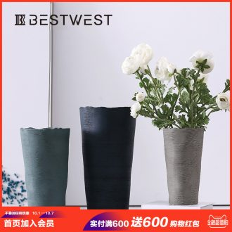"""To promote"" contemporary and contracted ceramic vases, dried flowers flower arrangement, creative big sitting room adornment is placed porcelain vase"