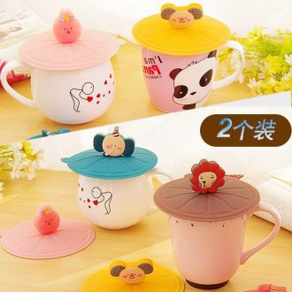 F cartoon food-grade silicone cup cover sealed vacuum cup cover general dustproof ceramic glass lid