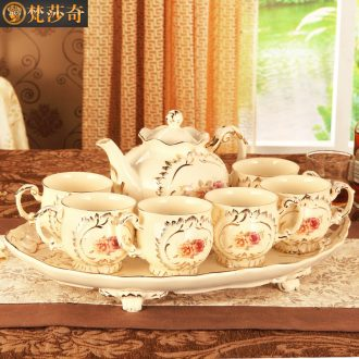 Vatican Sally 's European ceramic tea set with tray was home English afternoon tea cup suit small key-2 luxury