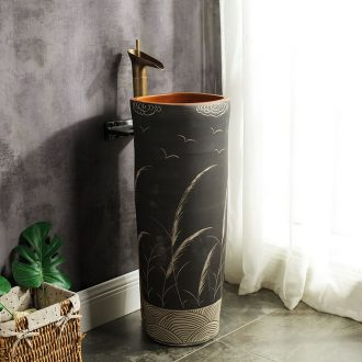 M beautiful ceramic column basin sink the balcony floor type lavatory basin of Chinese style column art the sink