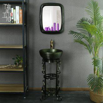 Ceramic glaze pillar pillar type lavatory basin art sink one floor type basin pillar type basin