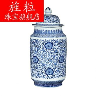 CV hand antique blue and white porcelain of jingdezhen ceramics general tank storage tank furnishing articles Chinese sitting room adornment is placed