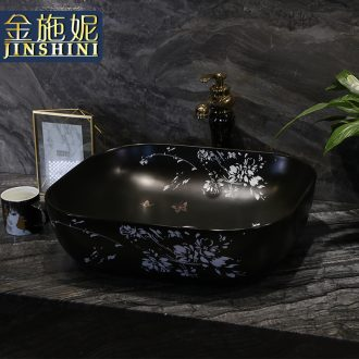 On the ceramic bowl, square, European art basin sink basin bathroom sinks counters are contracted household