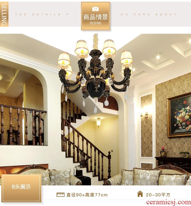 French key-2 luxury full ceramic crystal chandelier LED elegant sitting room bedroom study creative restaurant chandeliers