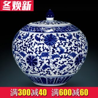 Archaize ceramic vase furnishing articles hand - sketching jingdezhen blue and white porcelain cover tank storage tank is Chinese style living room home decoration