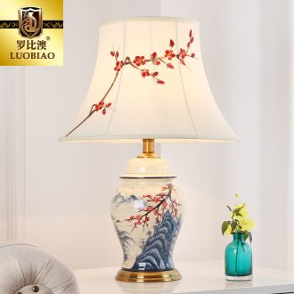 Adjustable desk lamp of bedroom the head of a bed lamp creative romantic warm light of new Chinese style is contracted and I sitting room key-2 luxury ceramic lamp