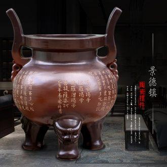 Jingdezhen ceramic large furnishing articles temple to burn incense for worship Buddha enshrined archaize three-legged landing place decoration