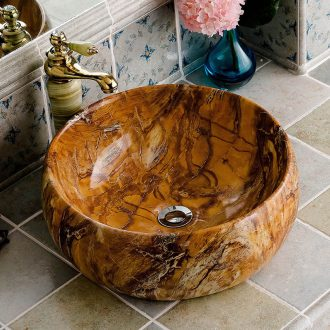 The stage basin circular imitation marble ceramic art European household sanitary toilet wash a face to face basin sink basin