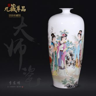 Jingdezhen ceramics dong-ming li hand-painted pastel vase Chinese style living room porch home decoration crafts