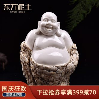 The east mud dehua white porcelain ceramic smiling Buddha maitreya study Chinese desktop furnishing articles decoration/fukuda maitreya