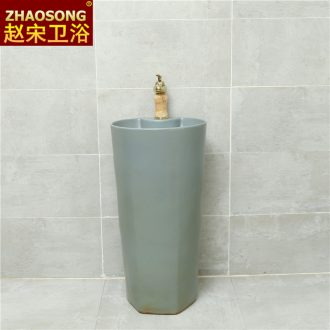 Ceramic pillar lavabo domestic large floor type lavatory one - piece balcony sink is suing antifreeze