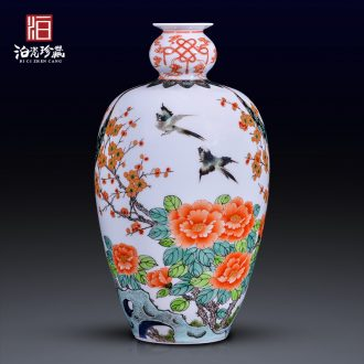 Jingdezhen ceramic color hand - made ancient vase decoration of new Chinese style household decorates sitting room study collect flower arranging furnishing articles