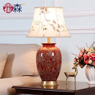 New Chinese style ceramic desk lamp American bedroom berth lamp sitting room study creative sweet and romantic European - style key-2 luxury decoration