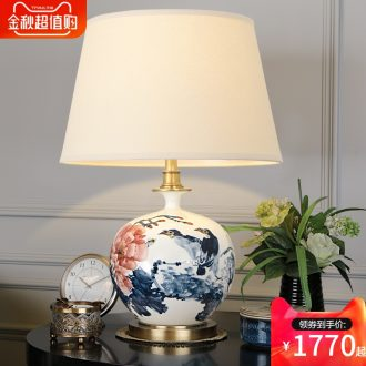 New Chinese style living room lamp jingdezhen blue and white porcelain hand-painted lamp study lamp of bedroom the head of a bed full of copper lamp