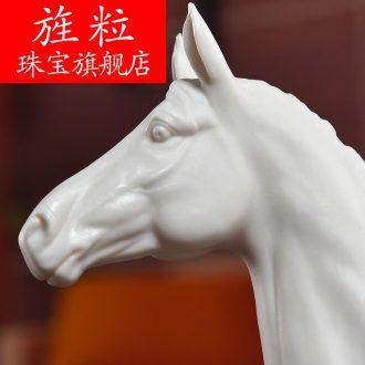 Bm dehua white porcelain horse sculpture art creative gift porcelain office furnishing articles
