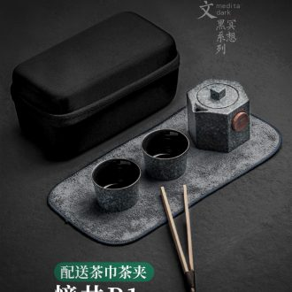 Evan ceramic travel kung fu tea set suit portable outdoor contracted a crack cup pot 2 cups of Japanese small