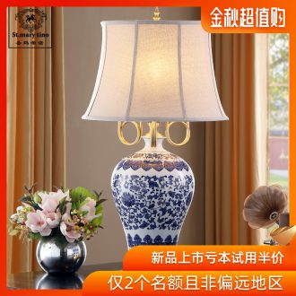 Santa marta tino new three full copper arm the colour blue and white porcelain ceramic desk lamp large villa