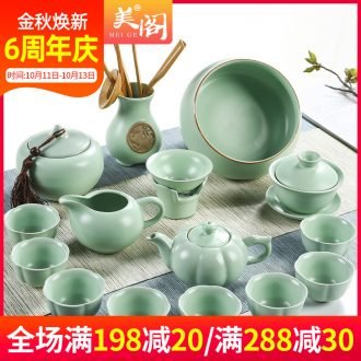 The cabinet kung fu tea set to open the slice your kiln of a complete set of ceramic tea tureen household suit tea cups to wash the teapot