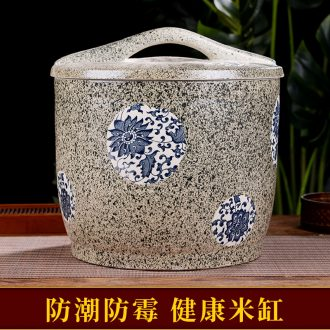 Ceramic barrel with cover seal tank flour moistureproof insect-resistant kitchen store meter box household ricer box 20/50 kg