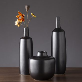 The new 2019 jingdezhen ceramic vases, I and contracted black zen pure manual pull PI sitting room art furnishing articles