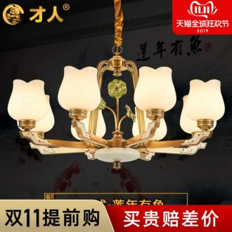 New Chinese style full copper chandelier contracted ceramic lamp lotus sitting room dining - room lamp Chinese wind small pure and fresh and New bedroom light