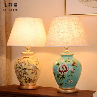 American ceramic desk lamp light home sitting room is the study of new Chinese style of bedroom the head of a bed European pastoral carried a warm light
