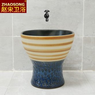 Nordic retro ceramic conjoined balcony mop pool household square sweep the floor mop pool basin sink outdoor toilet
