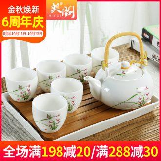 Beauty cabinet ceramic tea set suit household girder pot of high-capacity cold cold suet porcelain kettle pot teapot teacup