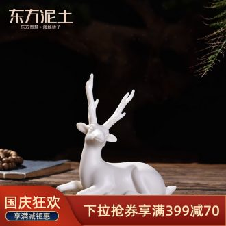 Oriental clay ceramic sculpture art furnishing articles/a car interior & other; Deer & throughout; Peace D50-201