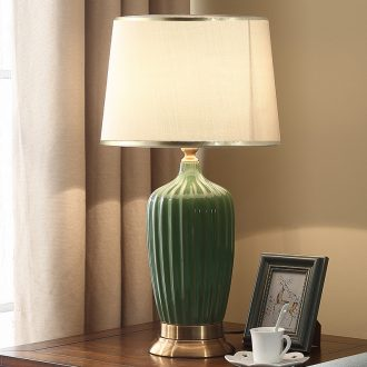 American bedroom nightstand lamp Nordic contracted and I sitting room, study ceramic cloth art adornment marriage room desk lamp