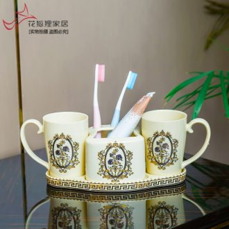 Light creative home furnishing articles of luxury European ceramic household washing three-piece suit decoration high-end bathroom toothbrush cup