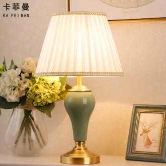 American contracted all copper ceramic desk lamp bedroom modern living room study marriage room warm and romantic home bedside lamp