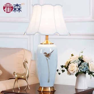 New Chinese style ceramic desk lamp sitting room bedroom berth lamp Chinese wind restoring ancient ways zen hand - made decorative warm all copper lamp